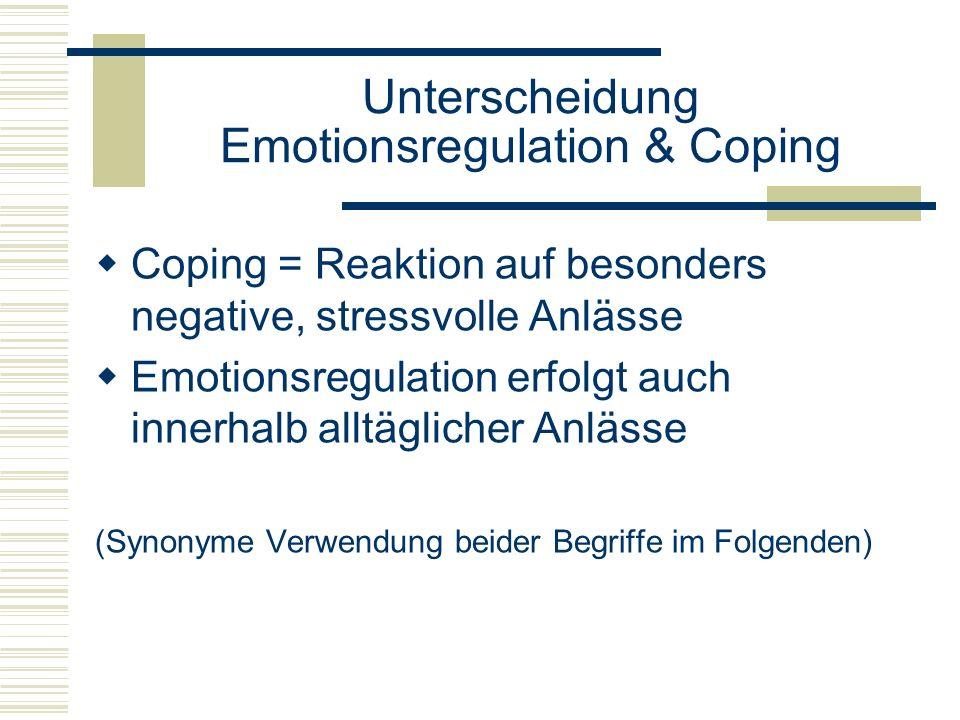 Unterscheidung Emotionsregulation & Coping