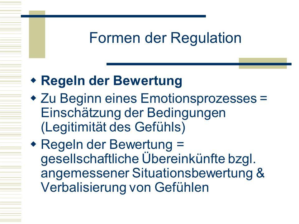 Formen der Regulation Regeln der Bewertung