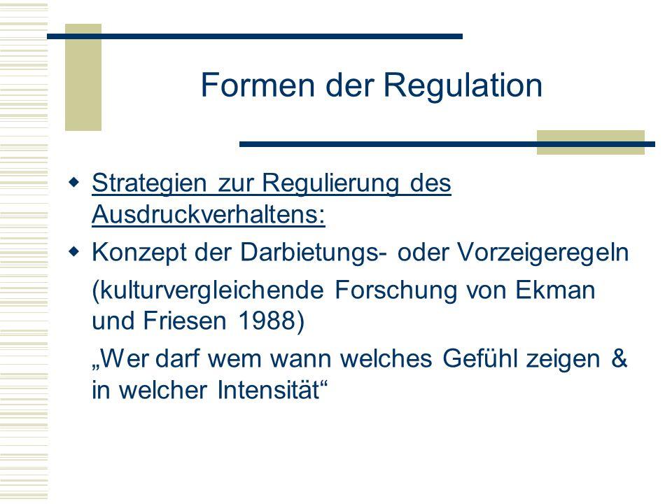 Formen der Regulation Strategien zur Regulierung des Ausdruckverhaltens: Konzept der Darbietungs- oder Vorzeigeregeln.
