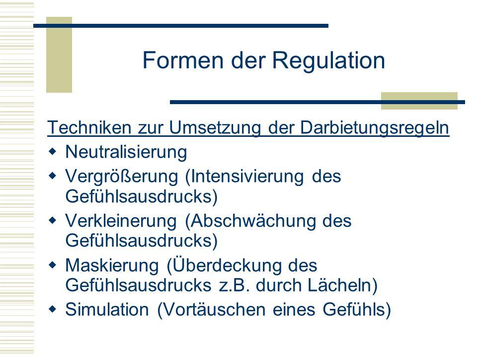 Formen der Regulation Techniken zur Umsetzung der Darbietungsregeln