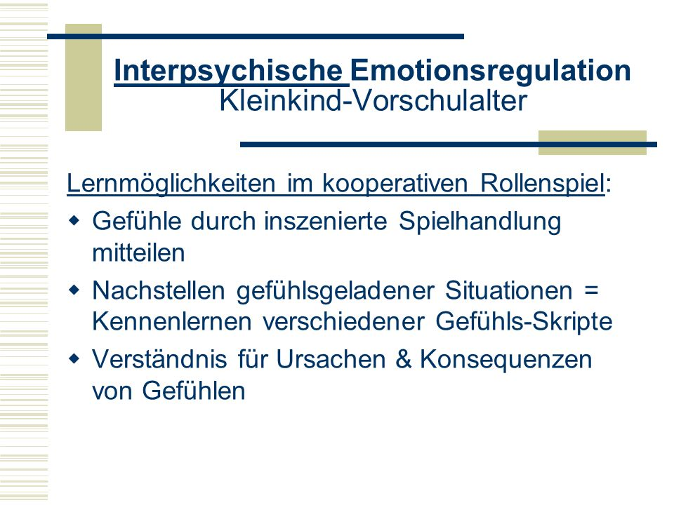 Interpsychische Emotionsregulation Kleinkind-Vorschulalter