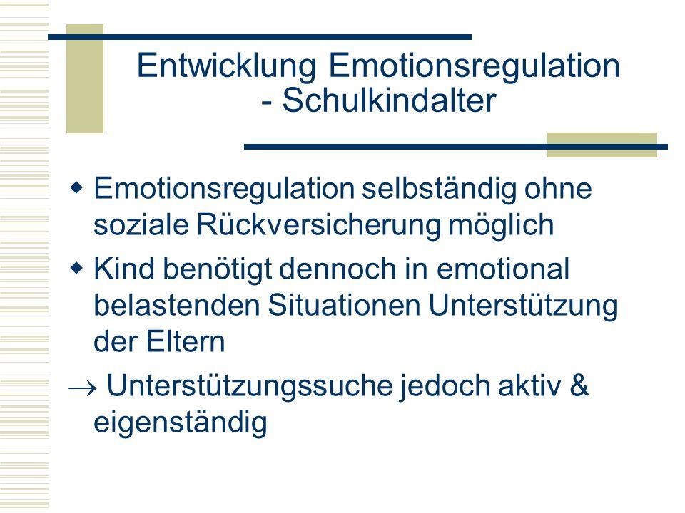 Entwicklung Emotionsregulation - Schulkindalter