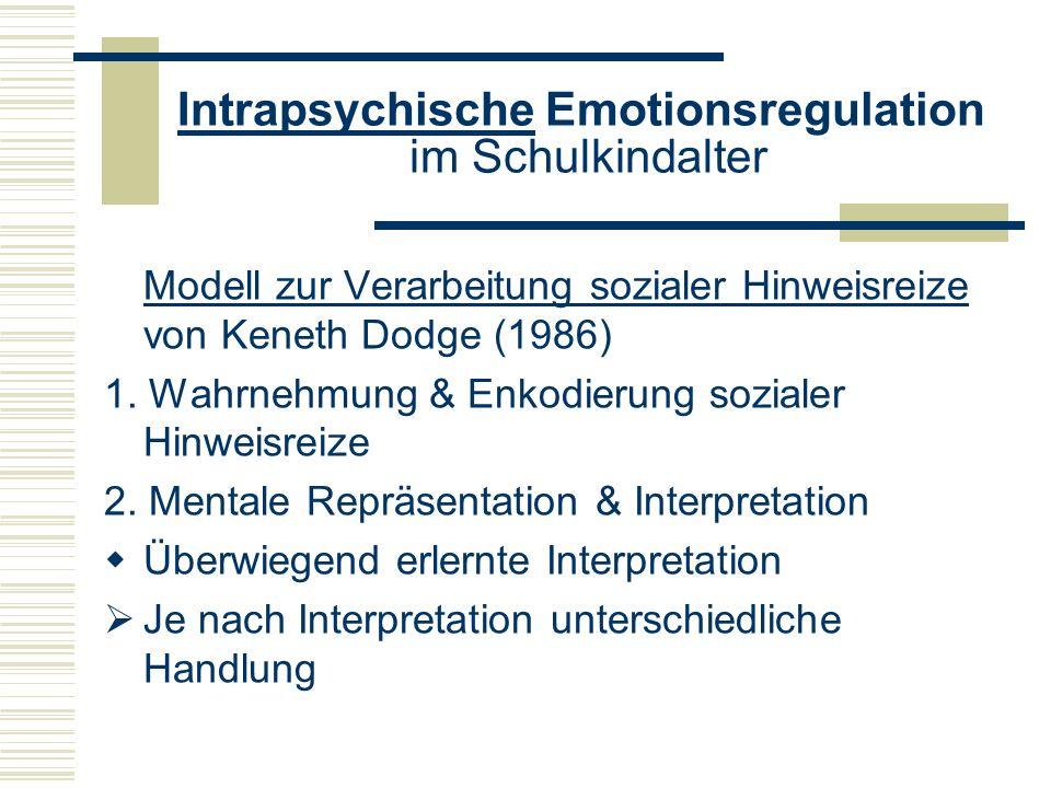 Intrapsychische Emotionsregulation im Schulkindalter