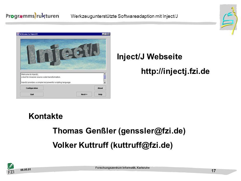 Inject/J Webseite http://injectj.fzi.de. Kontakte.