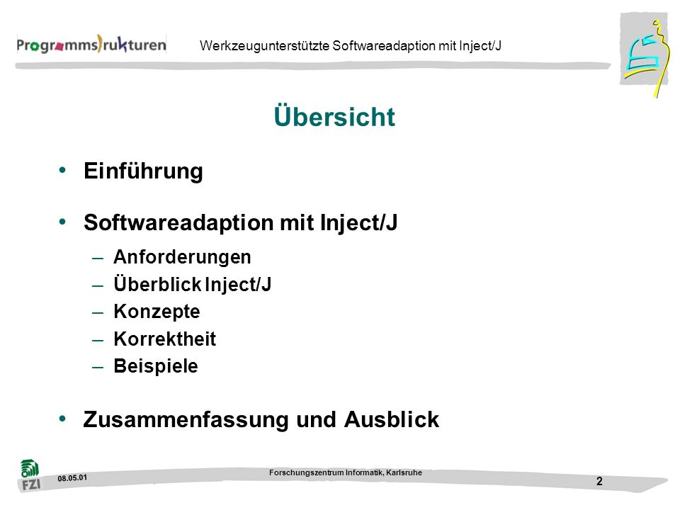 Übersicht Einführung Softwareadaption mit Inject/J