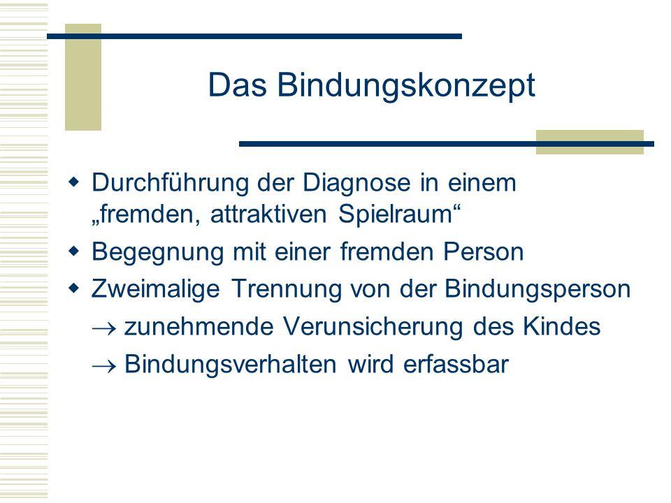 """Das Bindungskonzept Durchführung der Diagnose in einem """"fremden, attraktiven Spielraum Begegnung mit einer fremden Person."""