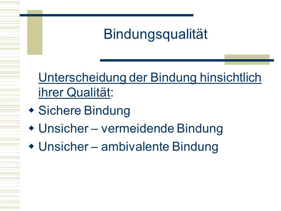 Bindungsqualität Unterscheidung der Bindung hinsichtlich ihrer Qualität: Sichere Bindung. Unsicher – vermeidende Bindung.