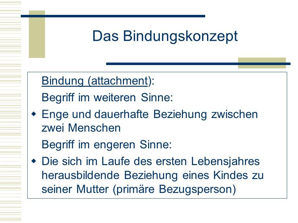 Das Bindungskonzept Bindung (attachment): Begriff im weiteren Sinne: