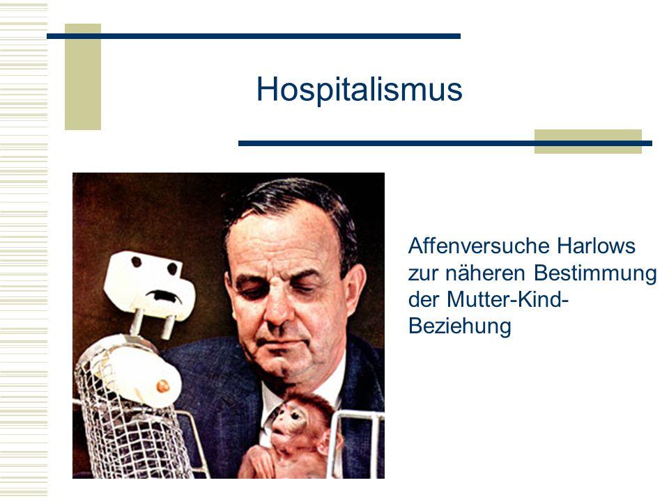 Hospitalismus Affenversuche Harlows zur näheren Bestimmung
