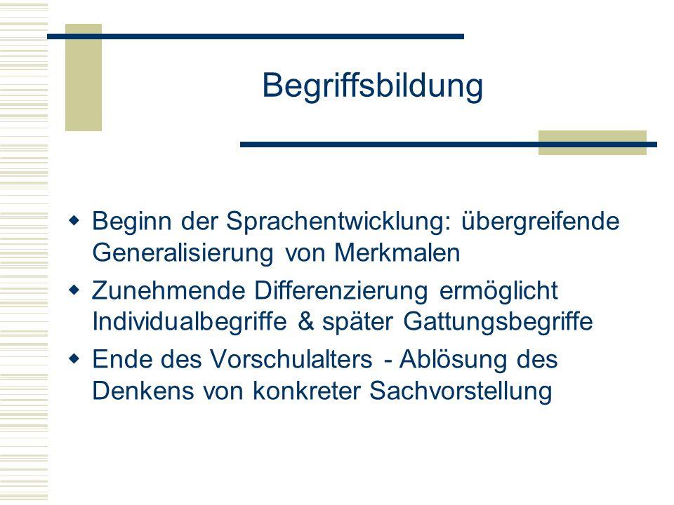 Begriffsbildung Beginn der Sprachentwicklung: übergreifende Generalisierung von Merkmalen.