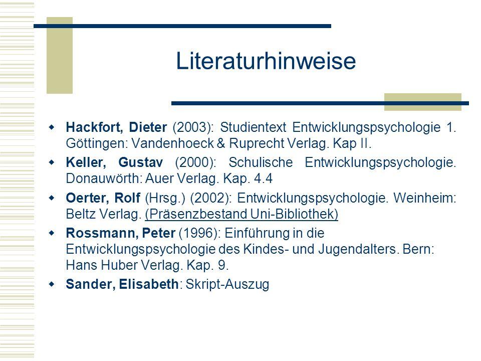 Literaturhinweise Hackfort, Dieter (2003): Studientext Entwicklungspsychologie 1. Göttingen: Vandenhoeck & Ruprecht Verlag. Kap II.