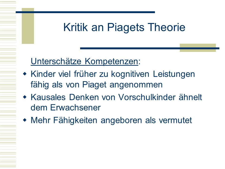 Kritik an Piagets Theorie