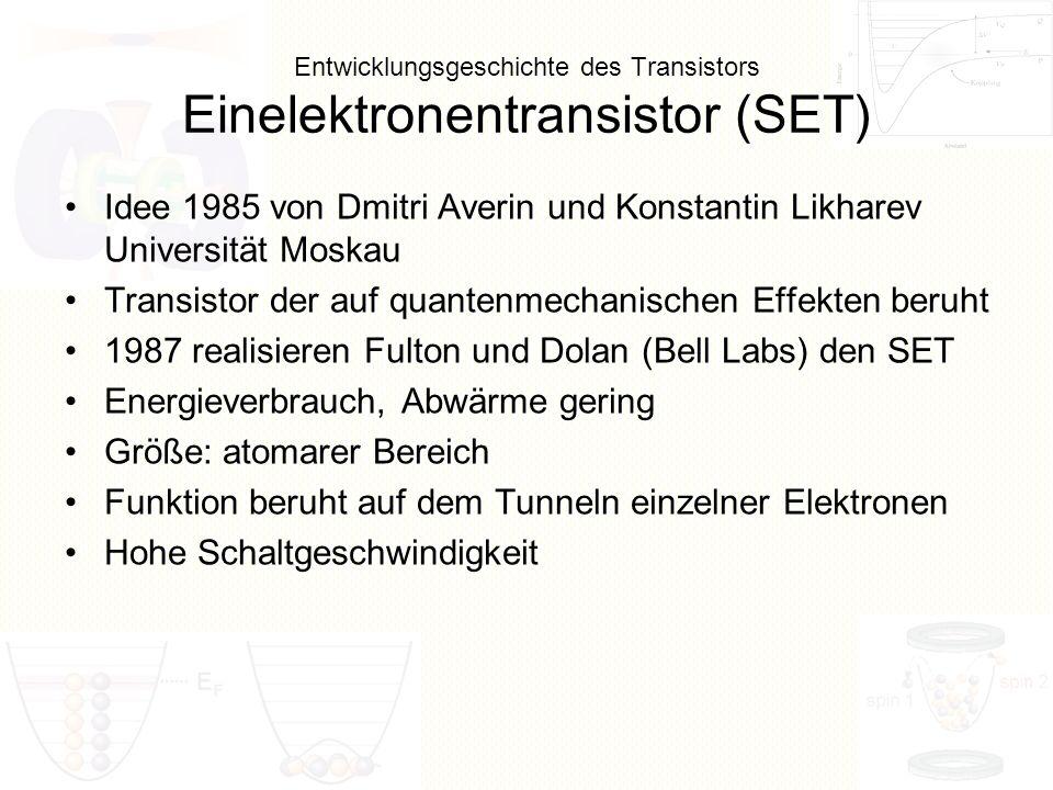 Entwicklungsgeschichte des Transistors Einelektronentransistor (SET)