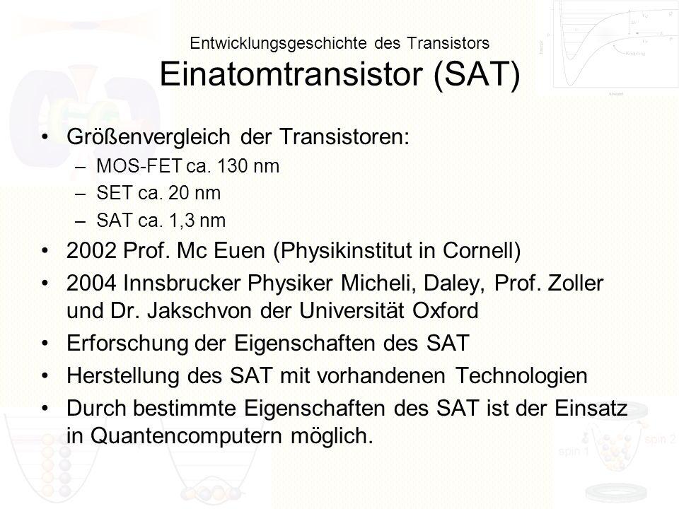 Entwicklungsgeschichte des Transistors Einatomtransistor (SAT)