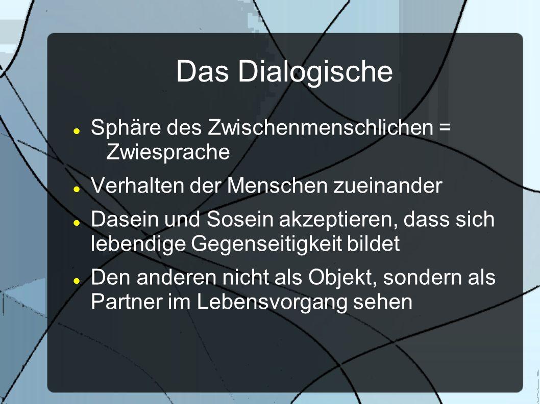 Das Dialogische Sphäre des Zwischenmenschlichen = Zwiesprache