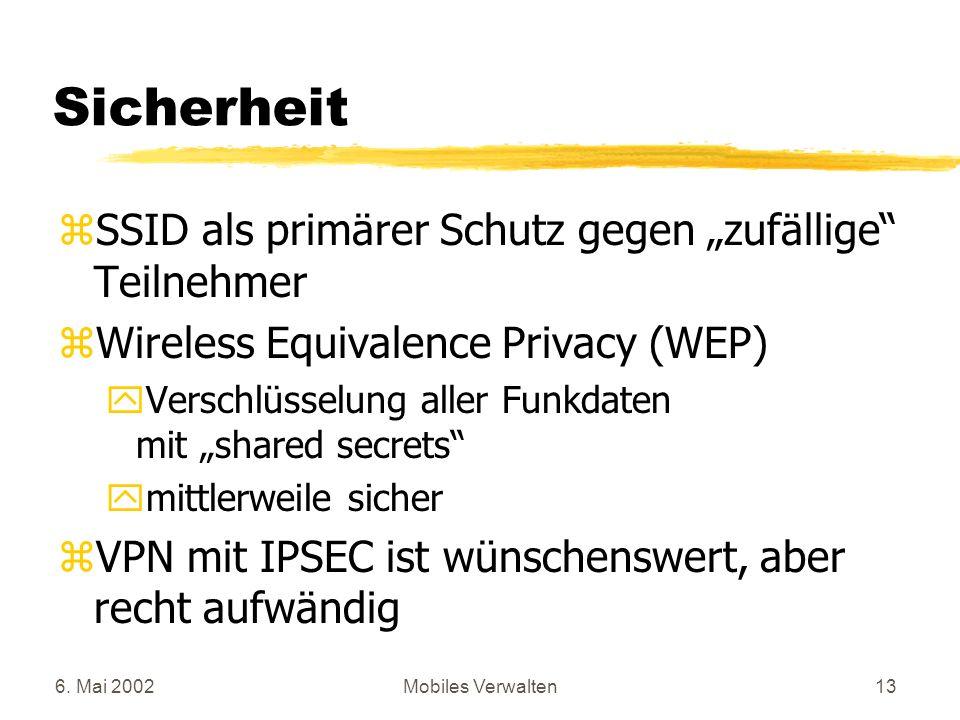 """Sicherheit SSID als primärer Schutz gegen """"zufällige Teilnehmer"""