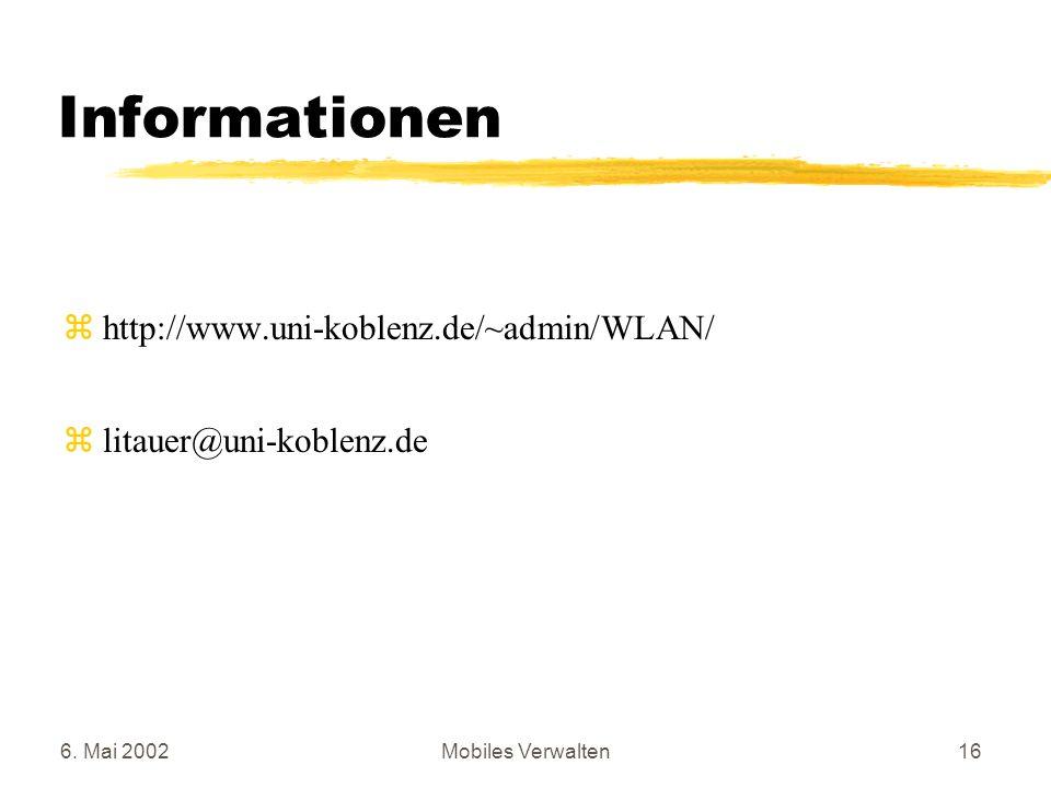 Informationen http://www.uni-koblenz.de/~admin/WLAN/