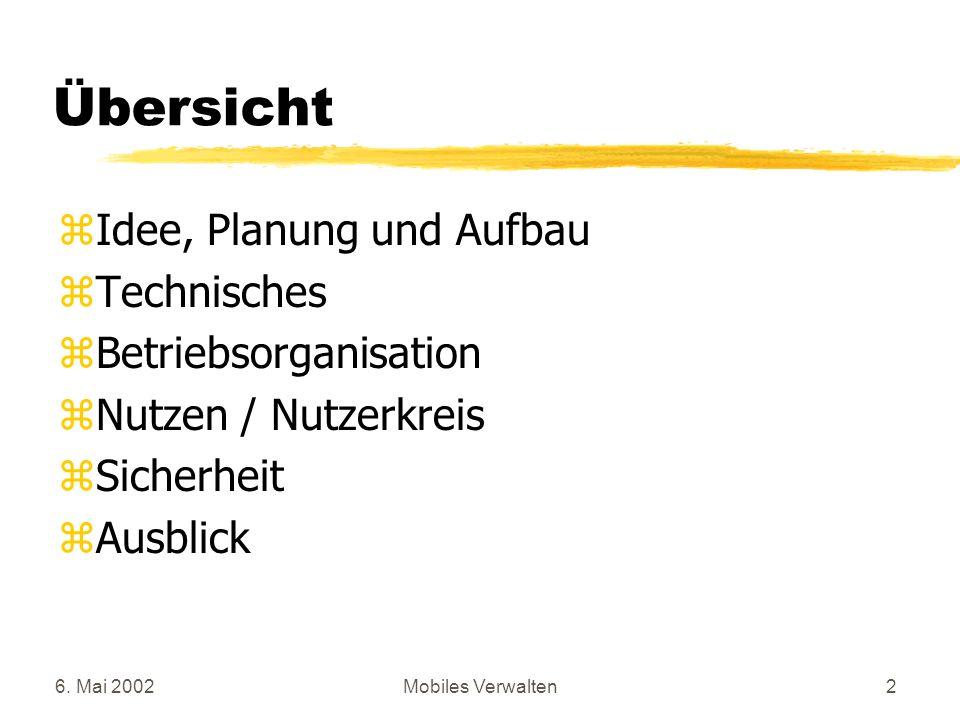 Übersicht Idee, Planung und Aufbau Technisches Betriebsorganisation