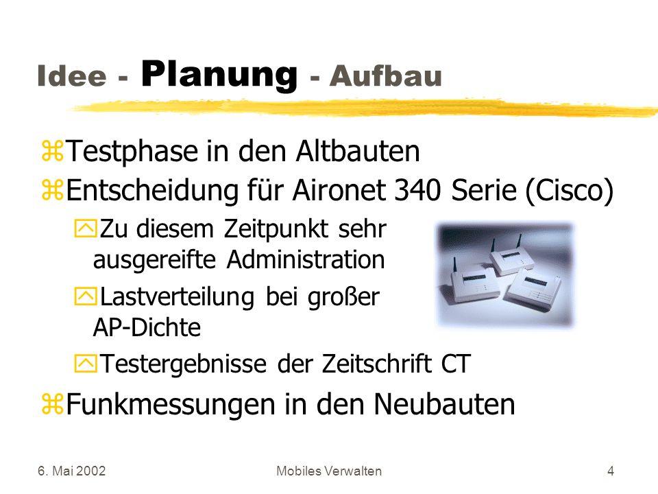 Testphase in den Altbauten Entscheidung für Aironet 340 Serie (Cisco)