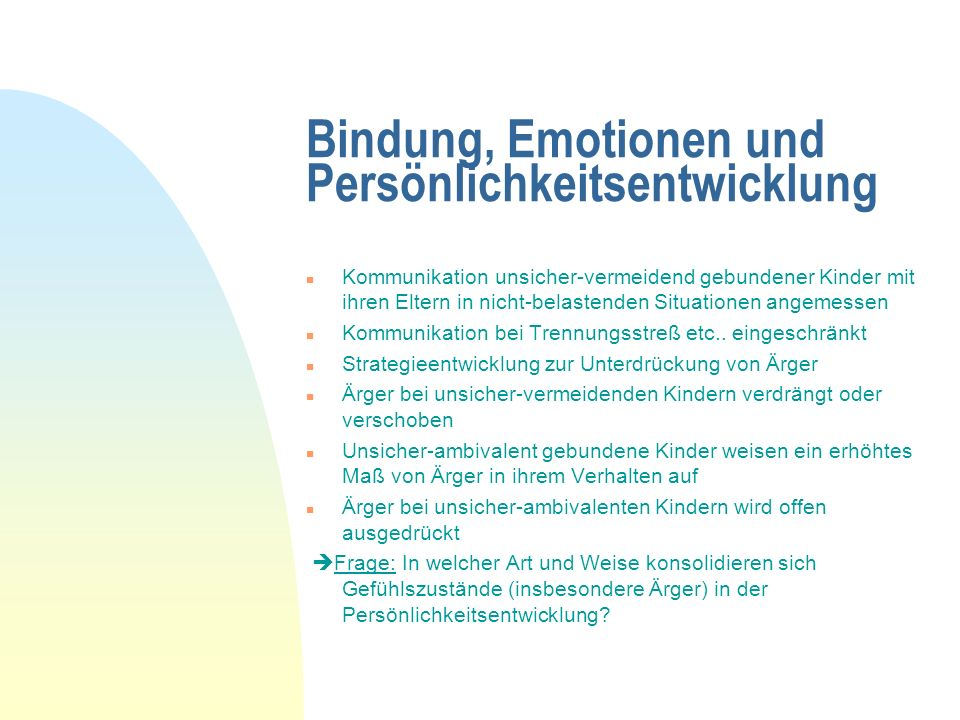 Bindung, Emotionen und Persönlichkeitsentwicklung