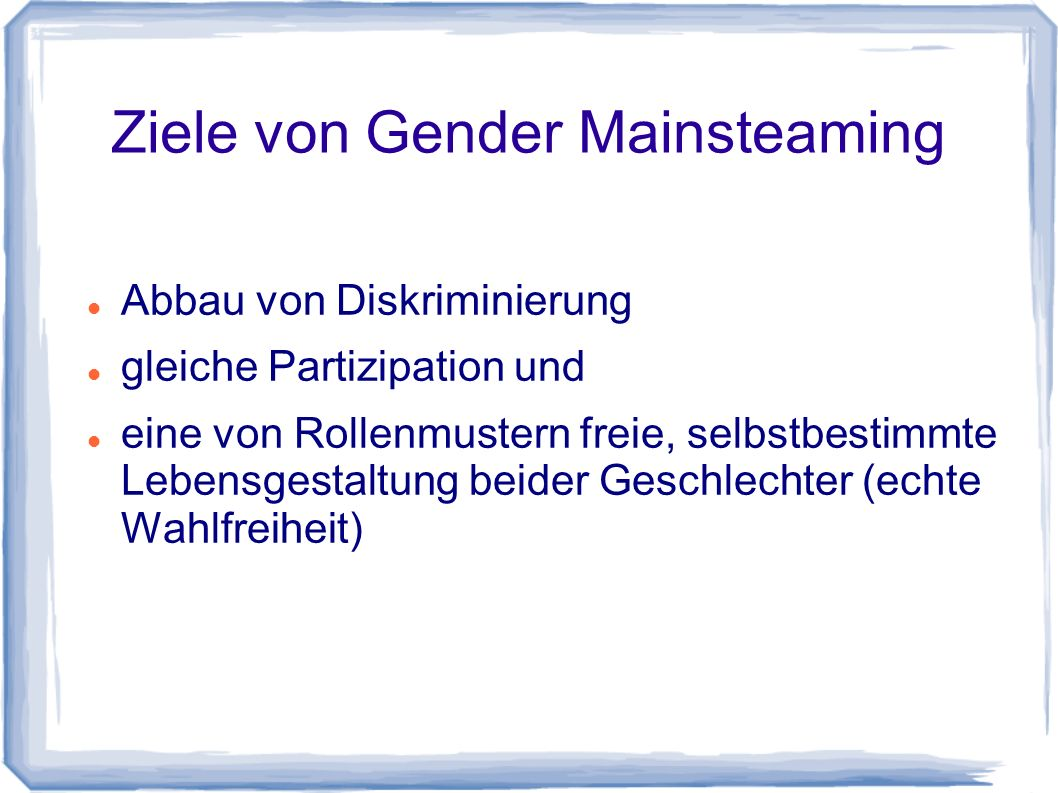 Ziele von Gender Mainsteaming