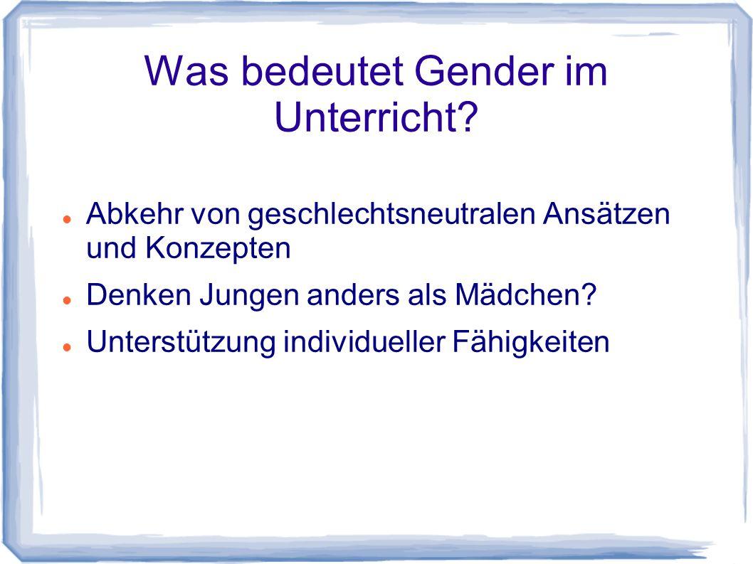 Was bedeutet Gender im Unterricht