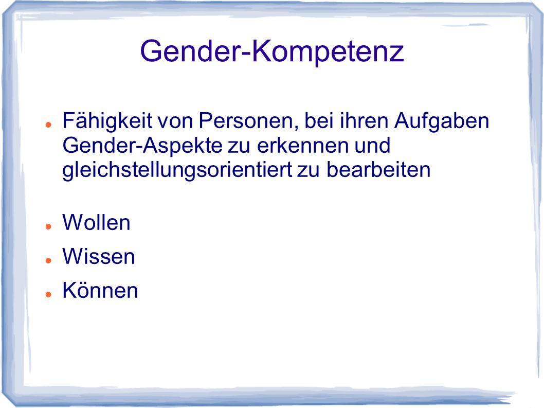 Gender-Kompetenz Fähigkeit von Personen, bei ihren Aufgaben Gender-Aspekte zu erkennen und gleichstellungsorientiert zu bearbeiten.