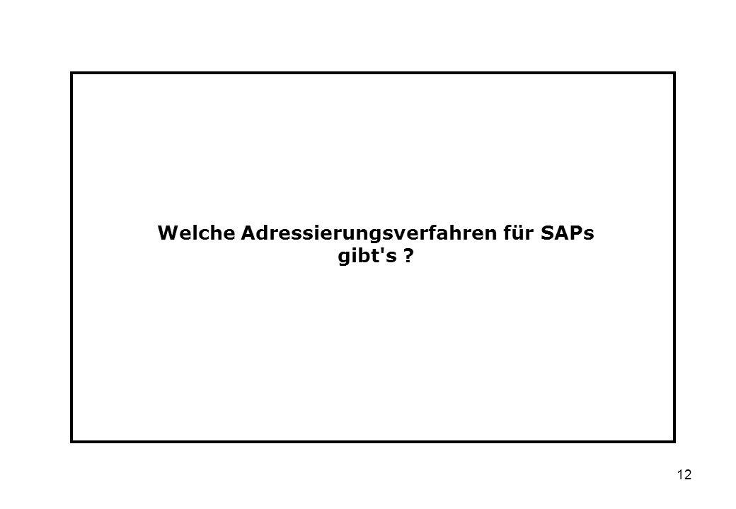 Welche Adressierungsverfahren für SAPs gibt s