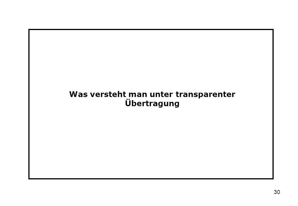 Was versteht man unter transparenter Übertragung