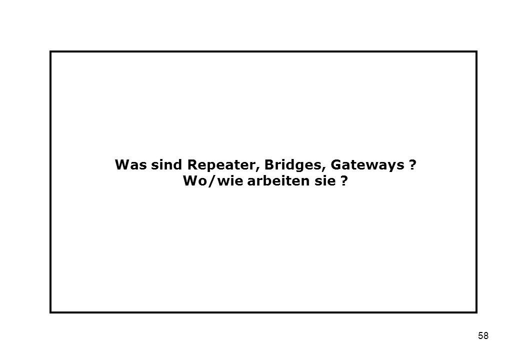 Was sind Repeater, Bridges, Gateways Wo/wie arbeiten sie