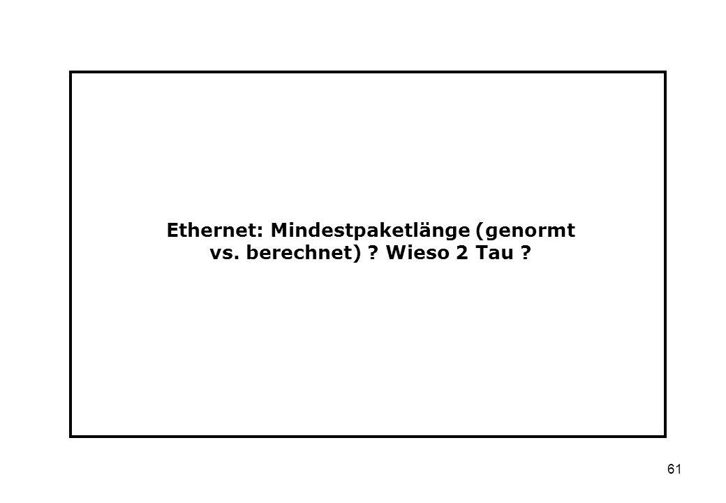 Ethernet: Mindestpaketlänge (genormt vs. berechnet) Wieso 2 Tau