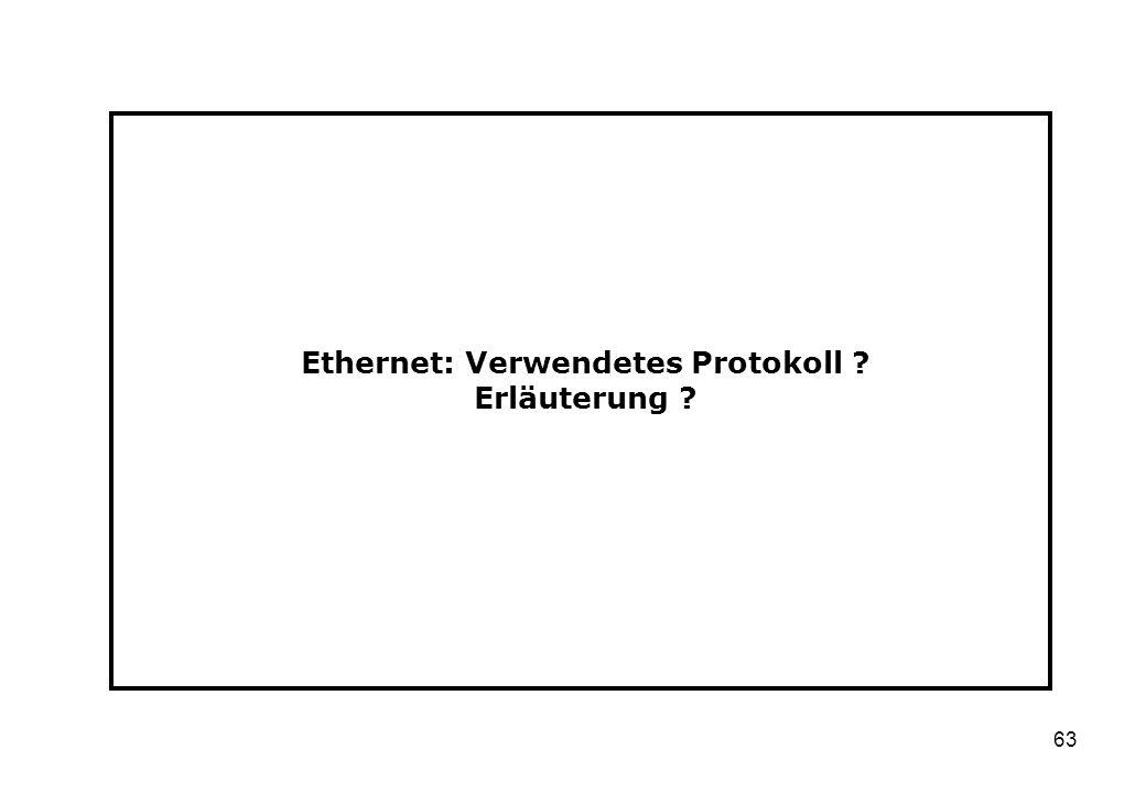 Ethernet: Verwendetes Protokoll Erläuterung