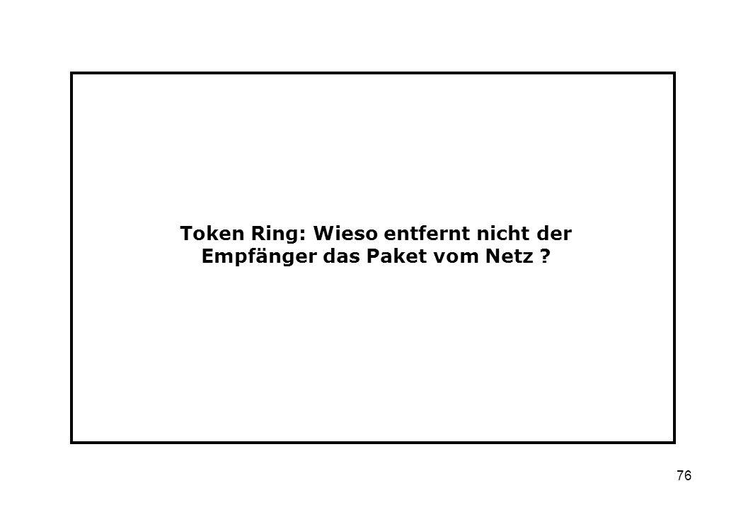 Token Ring: Wieso entfernt nicht der Empfänger das Paket vom Netz