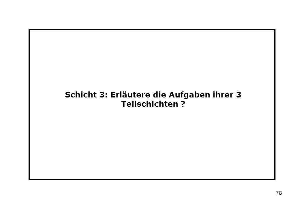 Schicht 3: Erläutere die Aufgaben ihrer 3 Teilschichten