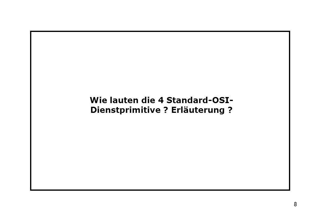 Wie lauten die 4 Standard-OSI-Dienstprimitive Erläuterung