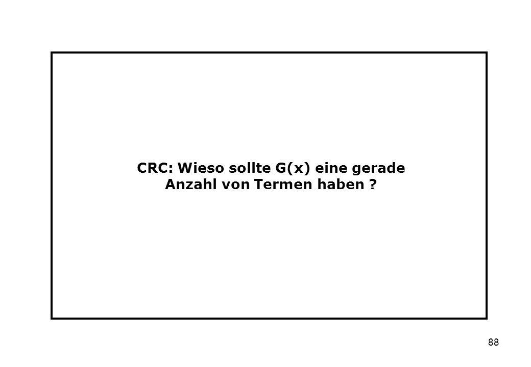 CRC: Wieso sollte G(x) eine gerade Anzahl von Termen haben