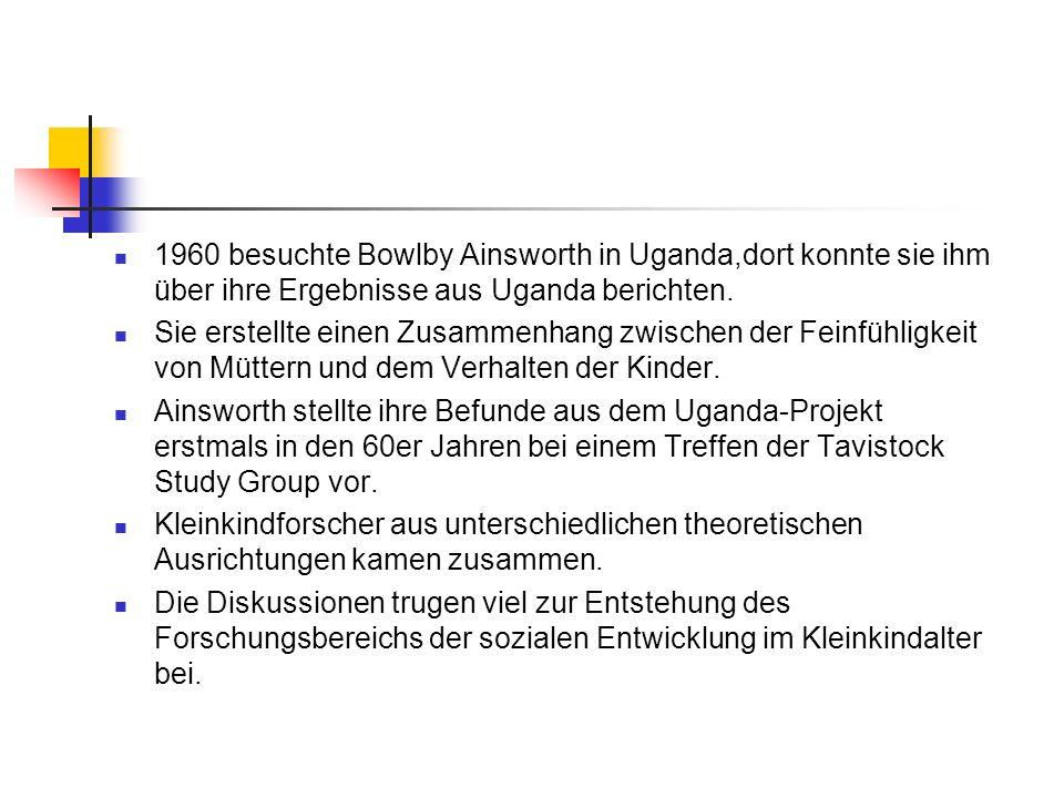 1960 besuchte Bowlby Ainsworth in Uganda,dort konnte sie ihm über ihre Ergebnisse aus Uganda berichten.