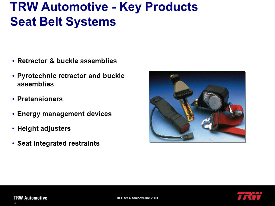 TRW Automotive - Key Products Seat Belt Systems