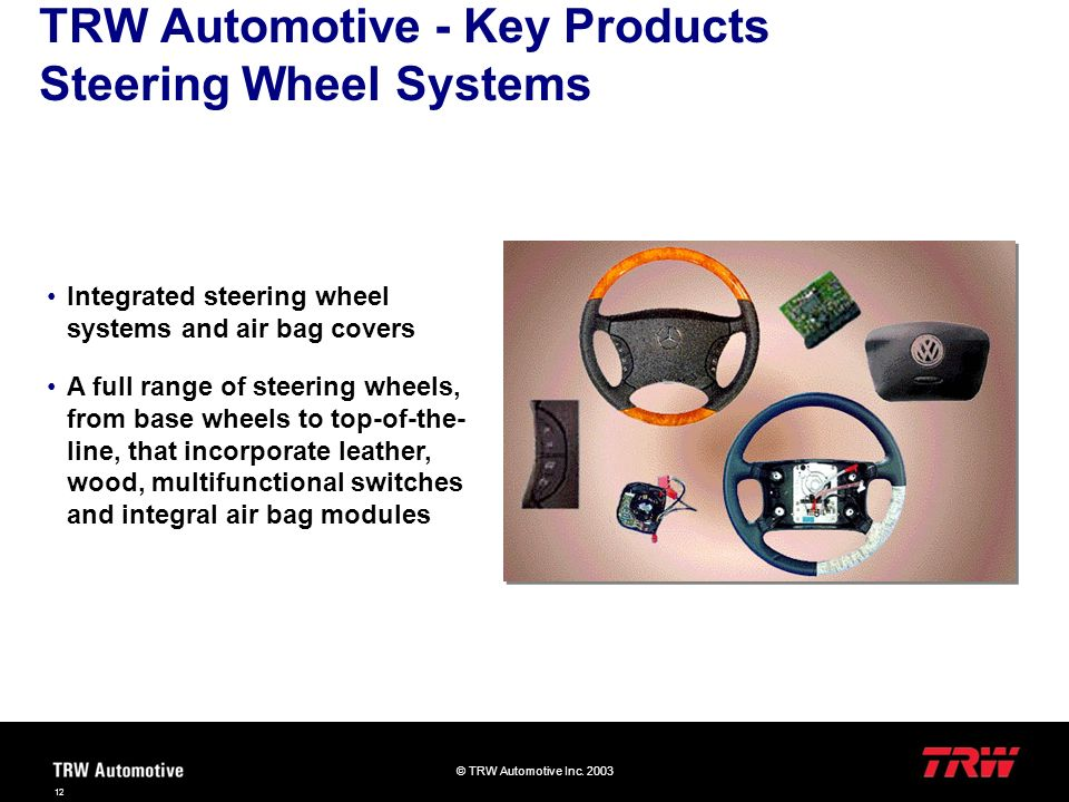 TRW Automotive - Key Products Steering Wheel Systems