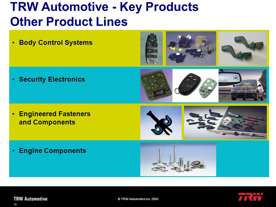 TRW Automotive - Key Products Other Product Lines