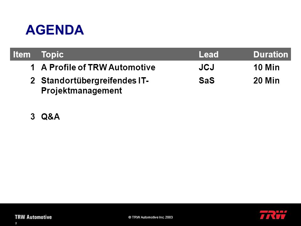 AGENDA Item Topic Lead Duration 1 A Profile of TRW Automotive JCJ