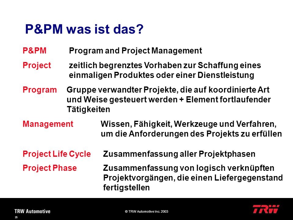 P&PM was ist das P&PM Program and Project Management Project
