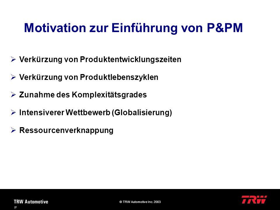Motivation zur Einführung von P&PM