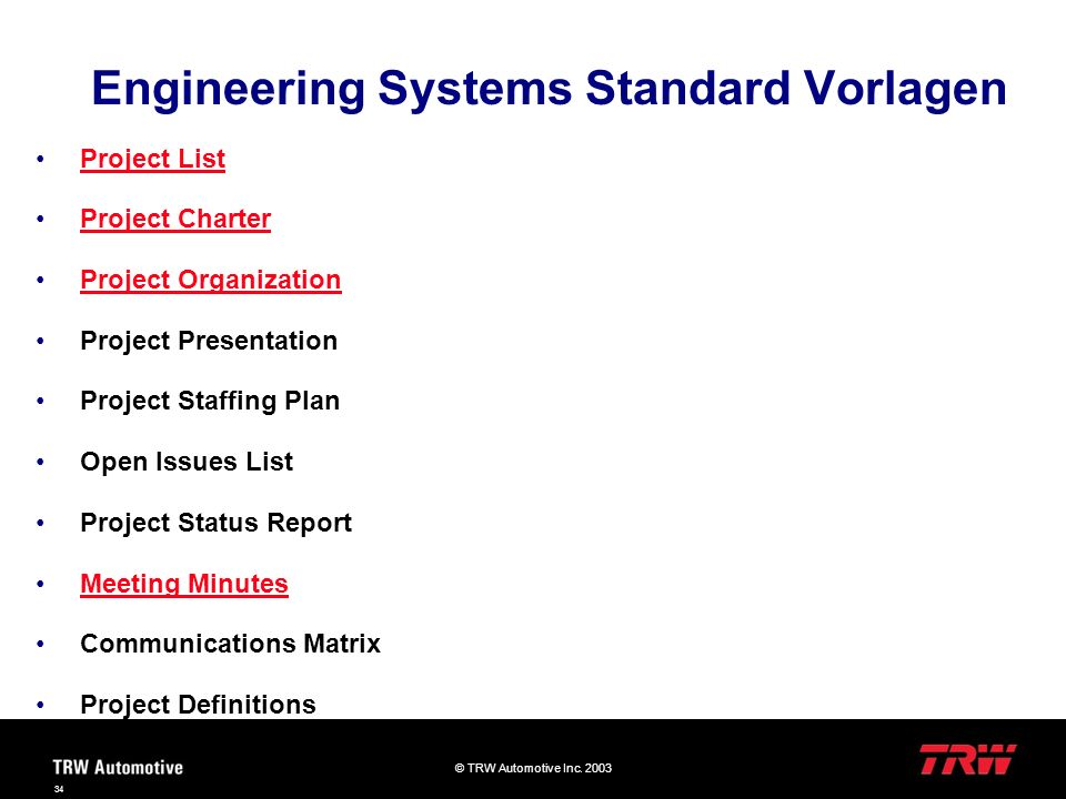 Engineering Systems Standard Vorlagen