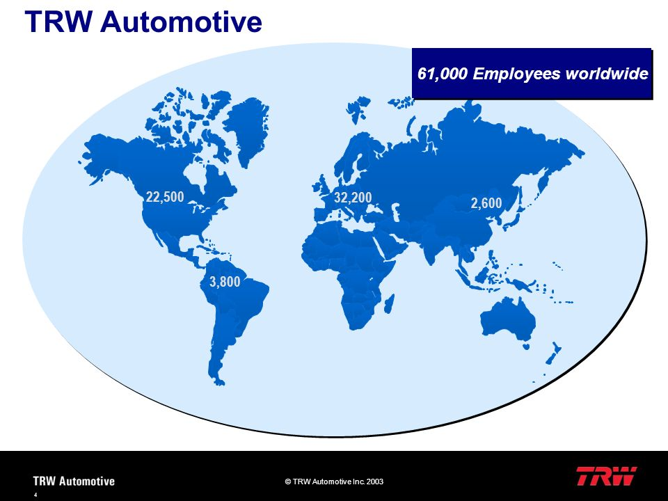 TRW Automotive 61,000 Employees worldwide 22,500 32,200 2,600 3,800