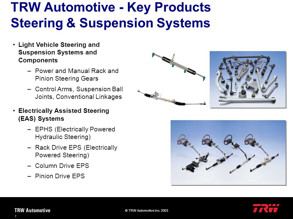 TRW Automotive - Key Products Steering & Suspension Systems