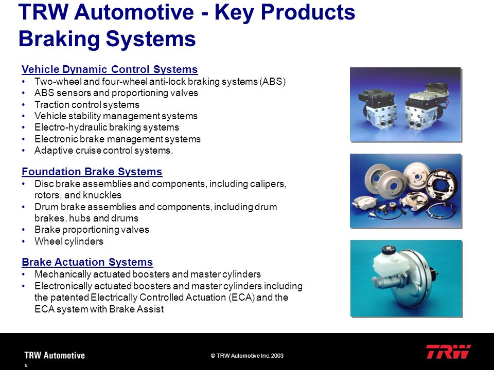 TRW Automotive - Key Products Braking Systems