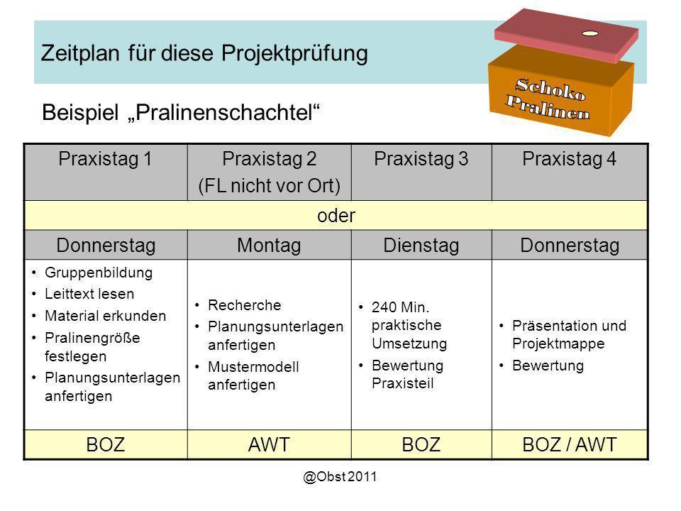 Zeitplan für diese Projektprüfung