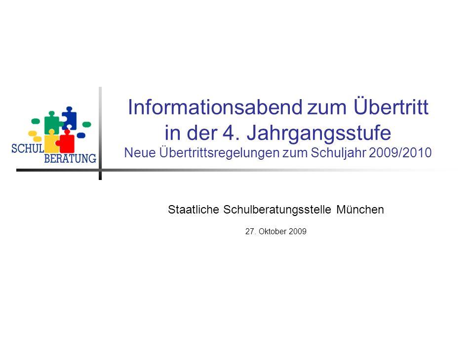 Staatliche Schulberatungsstelle München 27. Oktober 2009