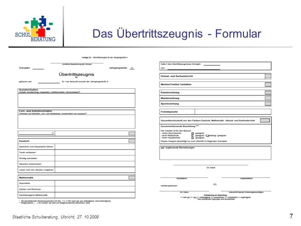 Das Übertrittszeugnis - Formular